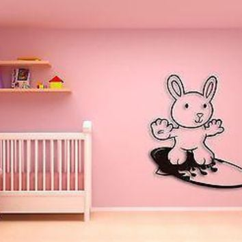 Wall Sticker For Kids Baby Rabbit on a Serfing Board Decor  Nursery Room Unique Gift z1410