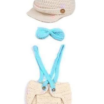 Knit Suspender Outfit with Hat  and Bow tie Baby Prop Outfit - CCA61