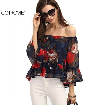 COLROVIE Summer Off Shoulder Floral Blouse Shirt Casual Style MultiColor Three Quarter Length Sleeve Vintage Print Blouse