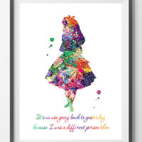 Printable Alice in Wonderland watercolor digital print quote there is no use going back to yesterday Instant download Alice quote