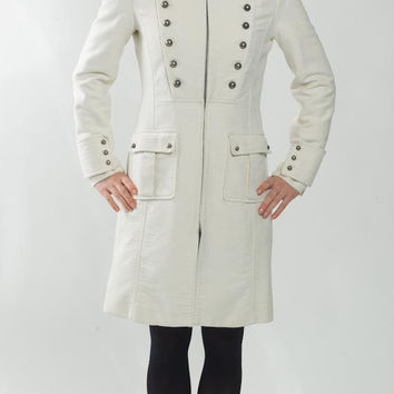 1990's White Military Inspired Coat - Vintage Cotton Formal Uniform Mid Lenght Cocktail New Wave Hipster Preppy Indie Winter Jacket Size M
