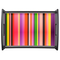 Trendy multicolor stripes texture serving tray
