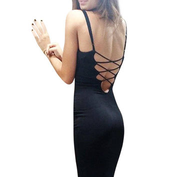 Black Strappy Backless Cut Out V Neck Bodycon Dress