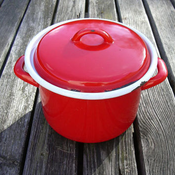 Vintage French red enameled cooking pot