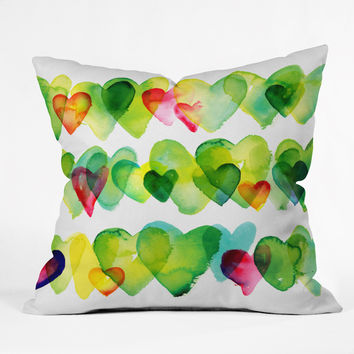 CMYKaren Watercolor Hearts Throw Pillow