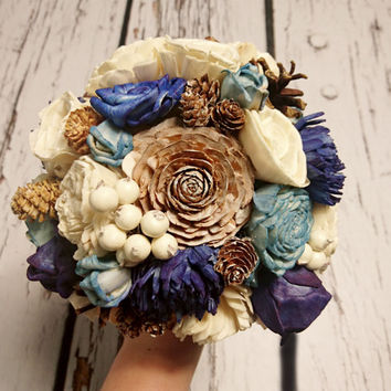 Bridesmaid toss cream brown dark blue turquoise rustic wedding BOUQUET Burlap Handle cotton lace pine cones cedar rose