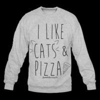 I Like Cats & Pizza (Black Text) Crewneck