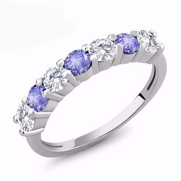 1.10 Ct Round White Created Moissanite Blue Tanzanite 925 Sterling Silver Ring