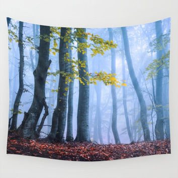Wall Tapestry, Tree Tapestry, Wall Hanging, Trees Forest Woods Wilderness Fog, Large Nature Photo Wall Art, Modern Tapestry, Home Decor