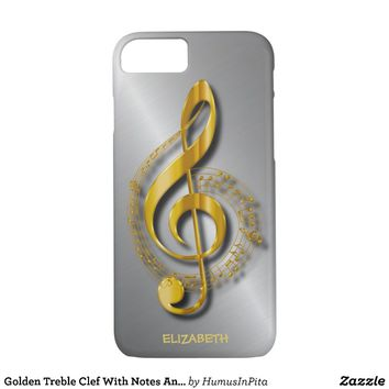 Golden Treble Clef With Notes And Shadows iPhone 7 Case