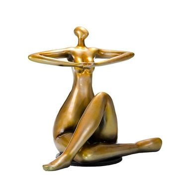 Modern Gold Lady Yoga Sculpture