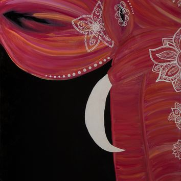 Hand Painted Bohemian Elephant (Pink) 24x30 Canvas