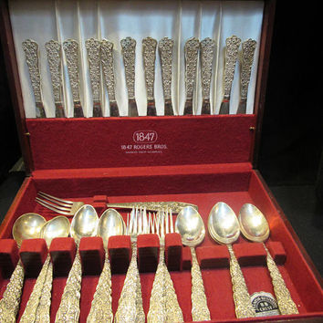 Silverplate , Flatware Set,  50  piece set,  Unknown Pattern, Marked G. Silver  (1562)