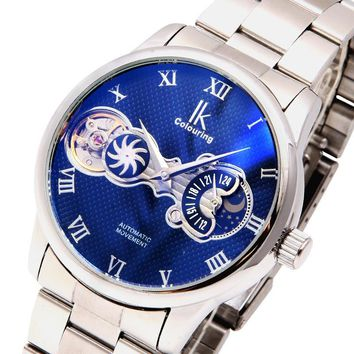 IK Men Roman scale Dial Moon Phase Tourbillon Symphony mirror Stainless Steel Hand Wind Mechanical Watch