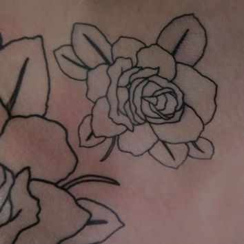 Small BW Rose Hand Drawn Temporary Tattoo