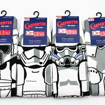 High Quality New Arrival Star Wars Patterns Casual Socks All cotton cartoon men's socks Film white Samurai anime robot socks sox