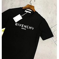 GIVENCHY Classic Trending Summer Couple Casual Print T-Shirt Top Blouse Black