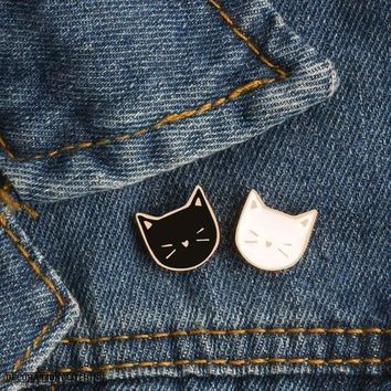 2 Pcs/Set Enamel Pin Cat Cartoon Animal Brooch Badges for Clothes Bags Backpacks Jewelry Fashion Pins Cute Lapel Pins Gift