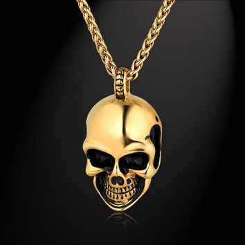 Men s Punk Necklace   Pendant Gold Color Stainless Steel Chain 5 fa8cea758625