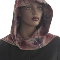 Stripe Wine Tan Hooded Scarf