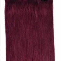 """HOT Faster Shipping 20""""6pcs 30g Remy Clip Hair 100% Real Human Hair Extension (#Burgundy)"""