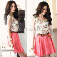 Korean Women Summer Chiffon Floral Sleeveless Vest Mini Dress Pleated Skirt