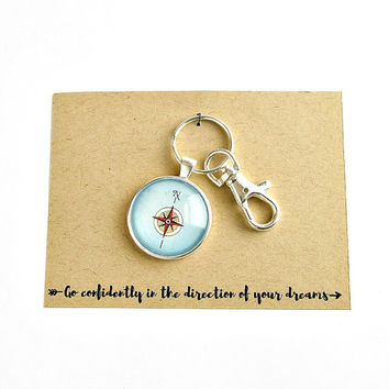 Compass Keychain / Inspirational Quote Keychain / High School Graduation Gift / College Graduation Gift / Inspirational Graduation Gifts