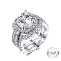 Cushion Cut 3 Pieces Stackable Halo Solitaire Band Ring Set 925 Sterling Silver