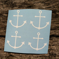 Set of 4 Mini Anchors - phone stickers, tan line stickers - FREE SHIPPING