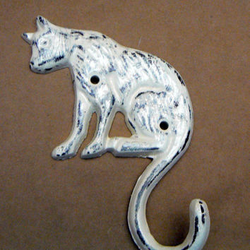Cat Hook Cast Iron Wall Hook Shabby Chic Creamy Off White Ecru Distressed Coat Jewelry Leash Key Scarf Hat Towel Hook Kitty Kitten Hook