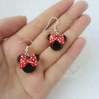 Minnie Mouse Inspired Mickey Mouse Head Earrings - Polymer Clay Charm, Minnie Mouse Charm, Disney Charm, Mickey Mouse Charm, Gift for Her