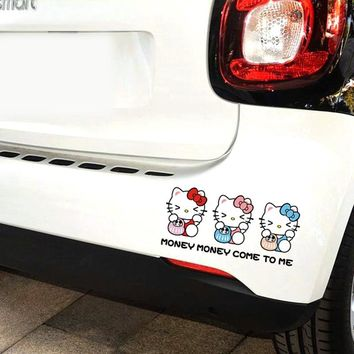15*5cm Car Sticker Hello Kitty Money Money Come To Me Decals Cute Styling for BMW Volkswagen Toyota Audi Peugeot Ford volvo Kia