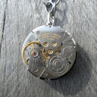 Reserved for Lisa C-B: Reversible Clockpunk Steampunk Pendant Necklace, Silver Watch Movement on Belcher Link Matinee Chain