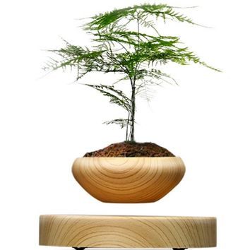 Magnetic Suspended Flower Pot Wood Grain Round LED Levitating Indoor Air Plant Pot No Plant EU US AU UK Plug Drop Shipping