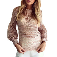 Pink Black White Sexy Hollow Out Lace Blouse 2016 Transparent Lantern Sleeve Crochet Women Tops Long Sleeve Lace Shirts Women