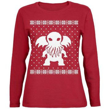 Chenier Big Cthulhu Lovecraft Ugly Christmas Sweater Womens Long Sleeve T Shirt