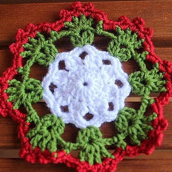 Coasters - Set Of 6 - Red Green White Coasters - Crocheted Multicolor Coasters