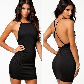 Fashion Backless Crisscross Strap Sleeveless Solid Color Bodycon Mini Dress