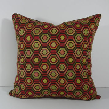 Geometric Deccorative Pillow Cover, Olive Green, Pink, Brown, 18 x 18 Pillow Cushion