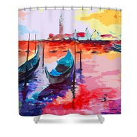 Abstract Venice Gondolas Shower Curtain by Ginette Callaway
