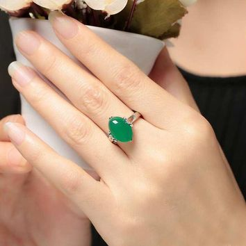 New Arrival Special Price Natural Stones Emerald Green Chalcedony Gemstone Engagement 925 Silver Rings Accessories Women YRI119
