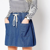 ASOS Denim High Waist With Rope Tie Mini Skirt in Mid Wash Blue