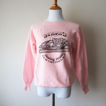 80s Steve's Sizzling Steaks -- Kitsch Cartoon Double Sided Sweatshirt, NJ New Jersey Pride, Pink Tultex Sz Medium