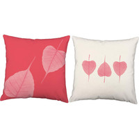 Set of 2 Pink Leaves Throw Pillows - Botanical Pillow Covers with or without Cushion Inserts - Pink Leaf Print, Plant Print, Pink Pillows