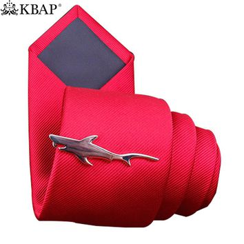 Tie Bar Clip Silver Color Cool Shark Design Neck Tie Necktie Clasp Pins with Gift Box
