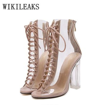 summer ladies jelly shoes gladiator sandals women designer luxury brand sexy extreme high heel sandals transparent heels shoes