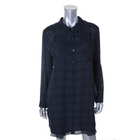 The Fisher Project Womens Silk Plaid Shirtdress