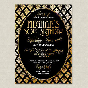 PRINTABLE Roaring 20's Art Deco Black and Gold Party Invitation - Customized Invitations by Little Celebrations