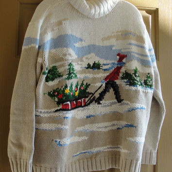 Vintage ugly Christmas sweater tree  medium large L  80s 90s 1980s 1990s heavy knit by Liz Claiborne