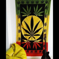 MARIJUANA LEAF TRI COLOR HIPPIE WALL HANGING TAPES